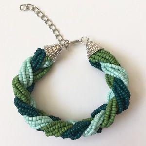 Jewelry - Glass Seed Bead Bracelet (Blue/Green)